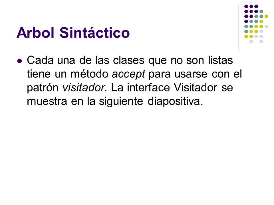 Arbol Sintáctico Cada una de las clases que no son listas tiene un método accept para usarse con el patrón visitador. La interface Visitador se muestr