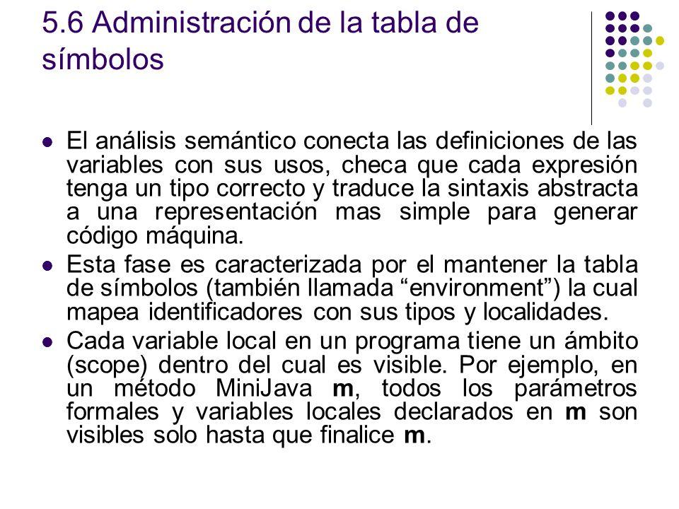 5.6 Administración de la tabla de símbolos El análisis semántico conecta las definiciones de las variables con sus usos, checa que cada expresión teng