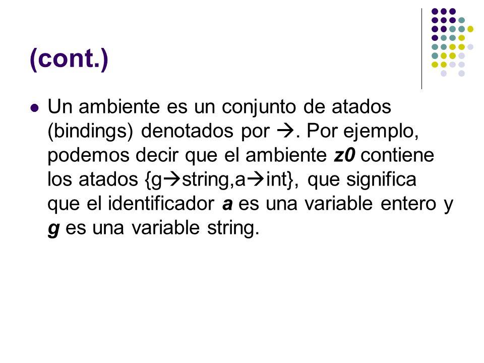 (cont.) Un ambiente es un conjunto de atados (bindings) denotados por. Por ejemplo, podemos decir que el ambiente z0 contiene los atados {g string,a i
