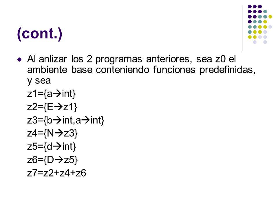 (cont.) Al anlizar los 2 programas anteriores, sea z0 el ambiente base conteniendo funciones predefinidas, y sea z1={a int} z2={E z1} z3={b int,a int}