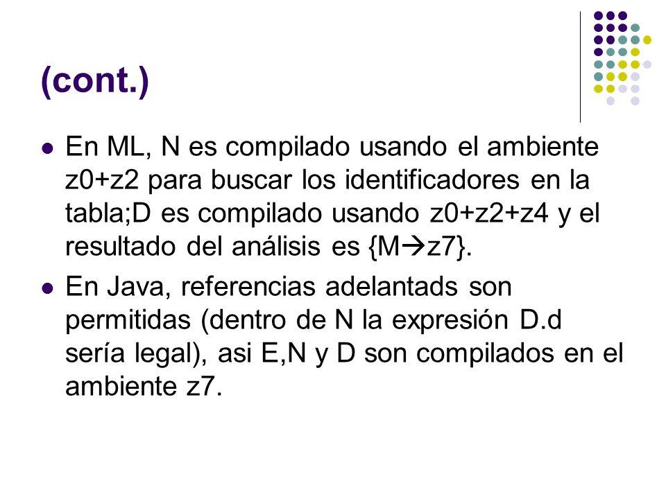 (cont.) En ML, N es compilado usando el ambiente z0+z2 para buscar los identificadores en la tabla;D es compilado usando z0+z2+z4 y el resultado del a