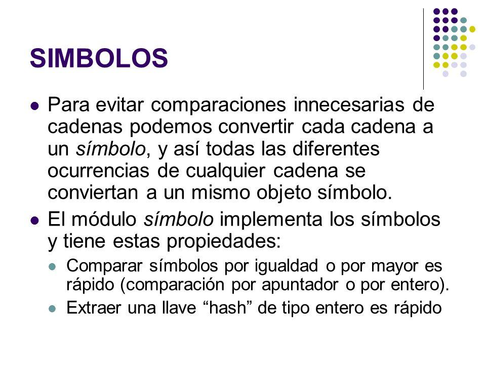 SIMBOLOS Para evitar comparaciones innecesarias de cadenas podemos convertir cada cadena a un símbolo, y así todas las diferentes ocurrencias de cualq