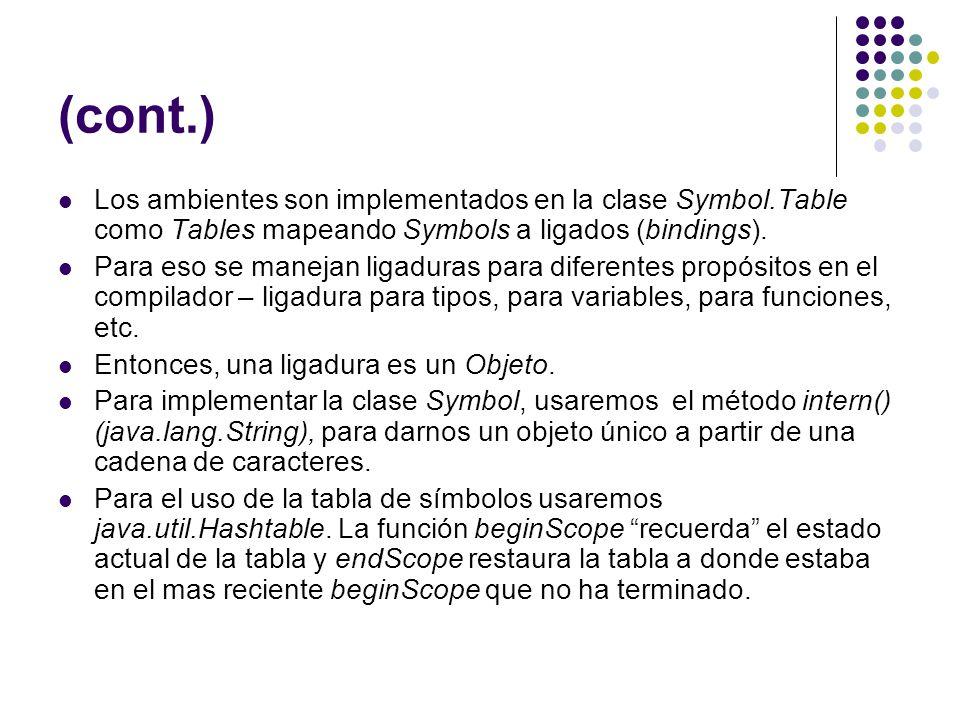 (cont.) Los ambientes son implementados en la clase Symbol.Table como Tables mapeando Symbols a ligados (bindings). Para eso se manejan ligaduras para