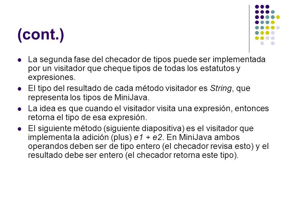 (cont.) La segunda fase del checador de tipos puede ser implementada por un visitador que cheque tipos de todas los estatutos y expresiones. El tipo d
