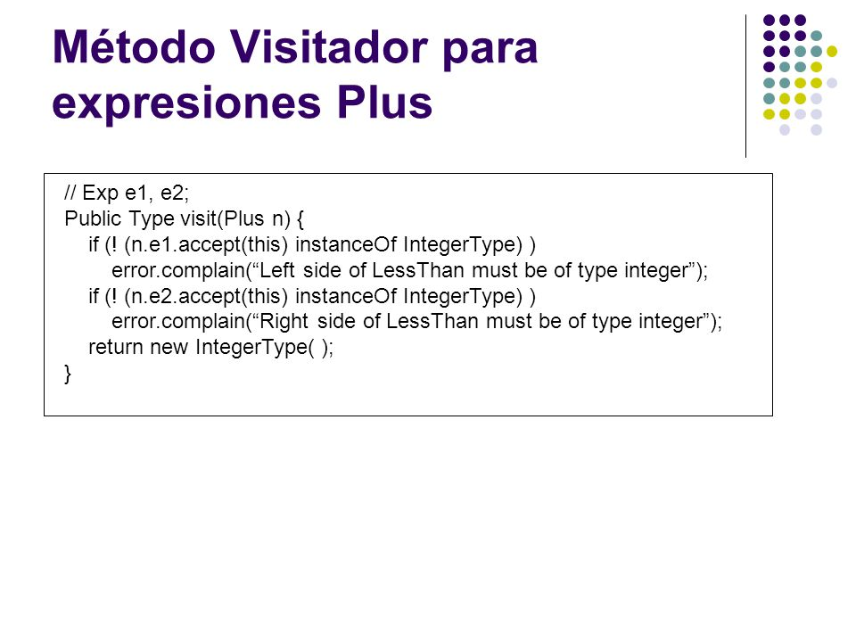Método Visitador para expresiones Plus // Exp e1, e2; Public Type visit(Plus n) { if (! (n.e1.accept(this) instanceOf IntegerType) ) error.complain(Le