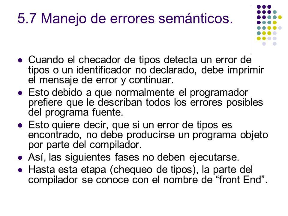 5.7 Manejo de errores semánticos. Cuando el checador de tipos detecta un error de tipos o un identificador no declarado, debe imprimir el mensaje de e