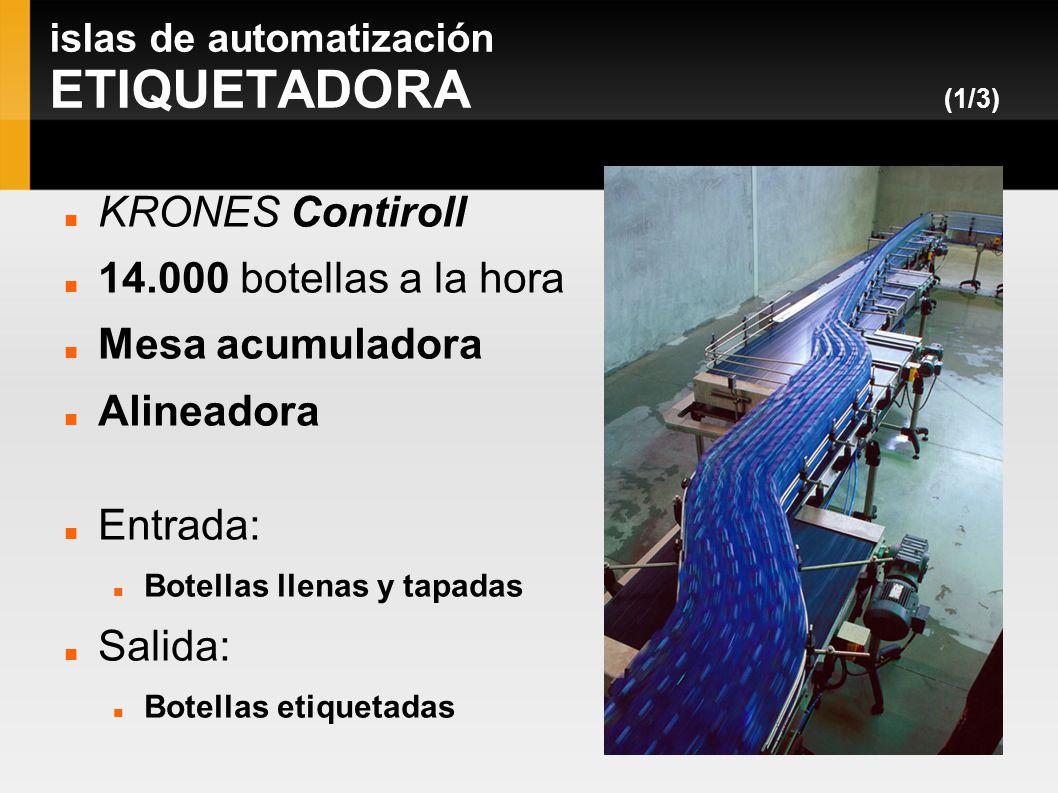 islas de automatización ETIQUETADORA (1/3) KRONES Contiroll 14.000 botellas a la hora Mesa acumuladora Alineadora Entrada: Botellas llenas y tapadas S