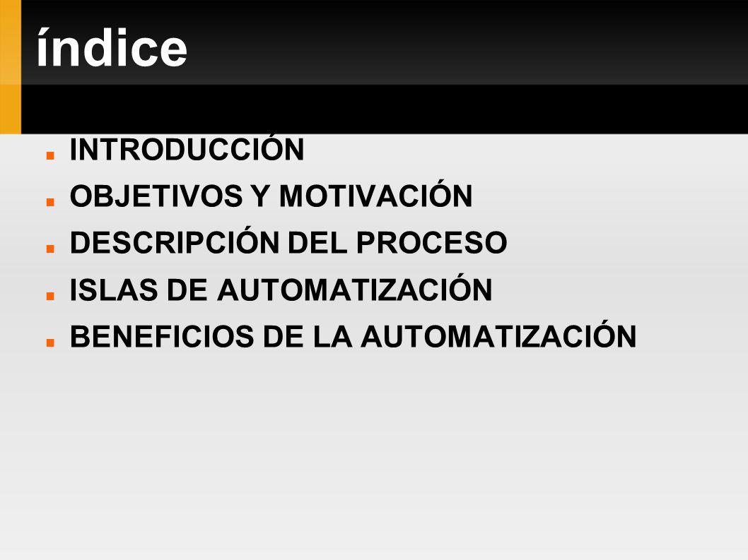 índice INTRODUCCIÓN OBJETIVOS Y MOTIVACIÓN DESCRIPCIÓN DEL PROCESO ISLAS DE AUTOMATIZACIÓN BENEFICIOS DE LA AUTOMATIZACIÓN