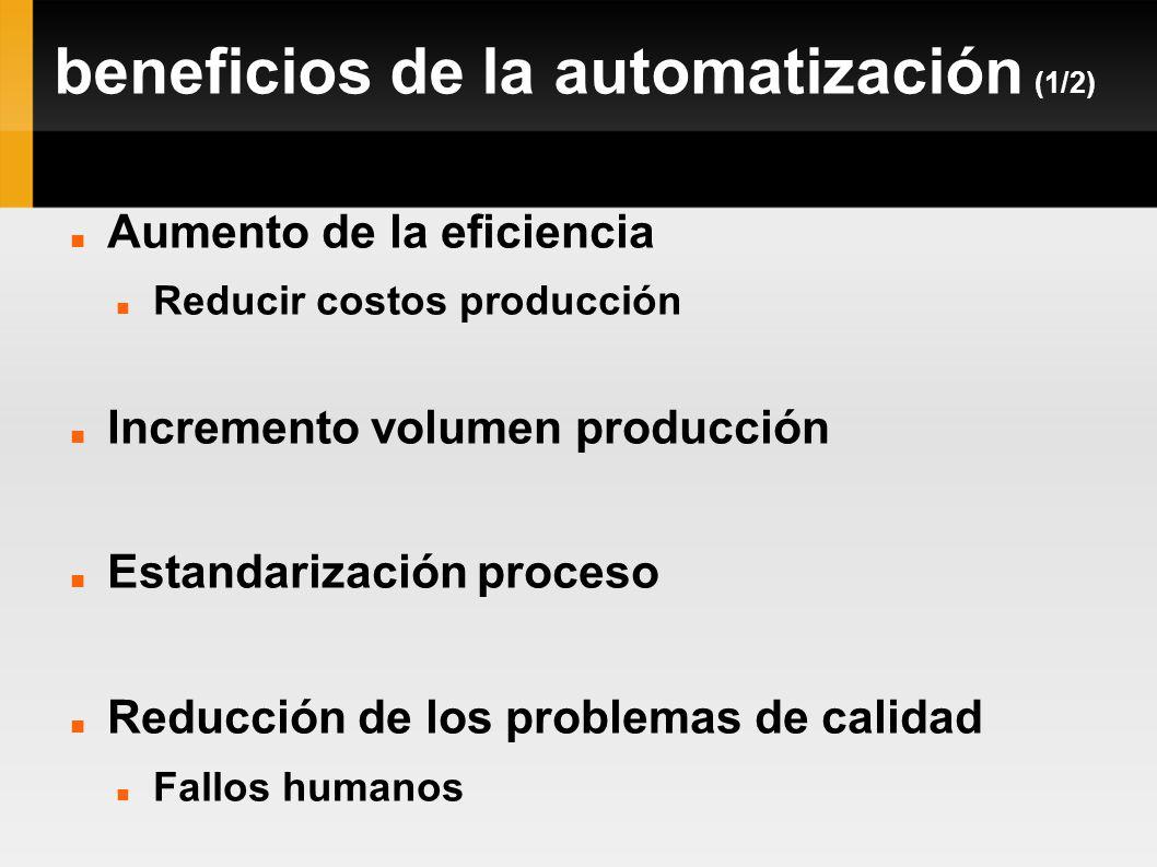 beneficios de la automatización (1/2) Aumento de la eficiencia Reducir costos producción Incremento volumen producción Estandarización proceso Reducci