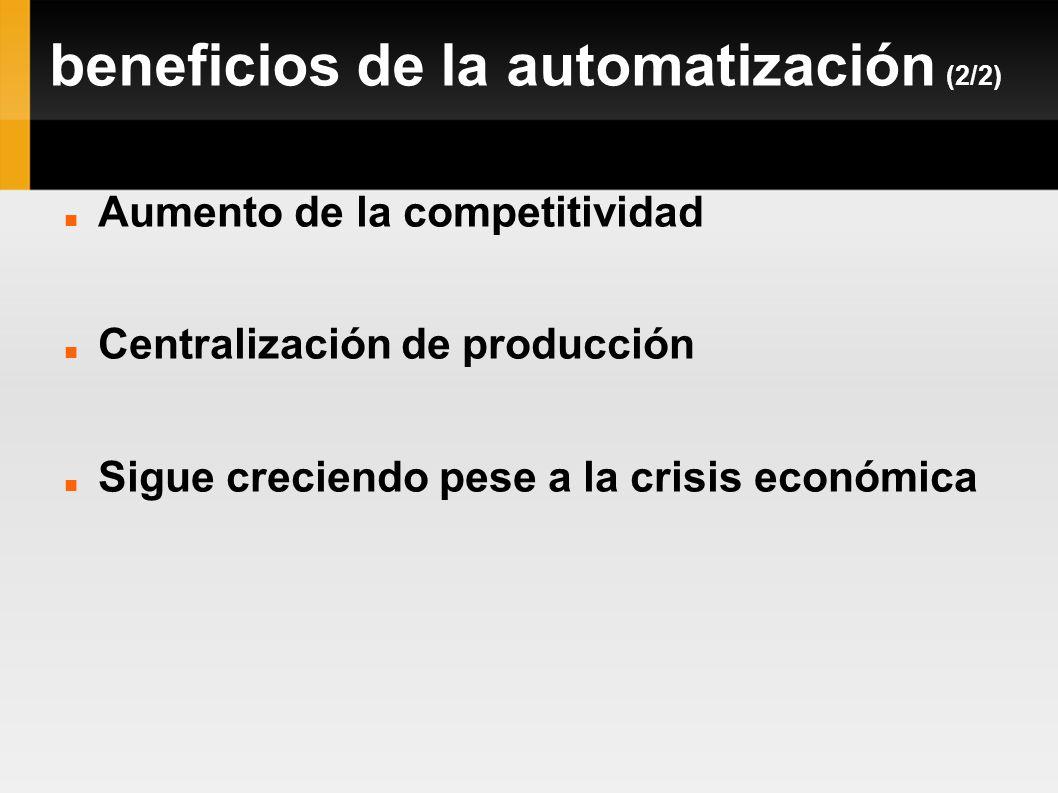 beneficios de la automatización (2/2) Aumento de la competitividad Centralización de producción Sigue creciendo pese a la crisis económica