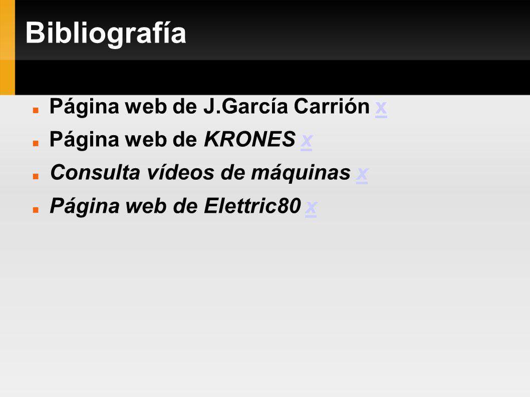 Bibliografía Página web de J.García Carrión xx Página web de KRONES xx Consulta vídeos de máquinas xx Página web de Elettric80 xx