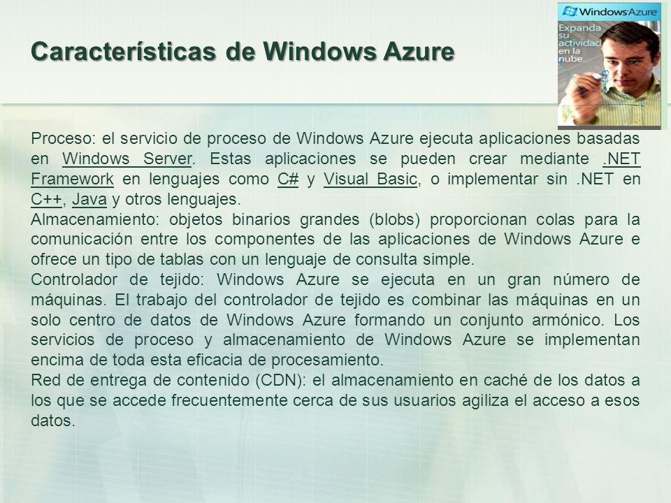 Generalidades La Plataforma Windows Azure se compone de servicios online que los desarrolladores usan en cualquier sitio, ejecutando desarrollos y almacenando los datos en máquinas remotas propiedad de Microsoft, ofreciendo un entorno flexible y conocido para crear aplicaciones y servicios en la nube fácilmente.