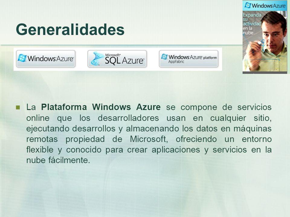 Servicios de Windows Azure Ofrece La plataforma Windows Azure está compuesta de diferentes servicios, algunos de ellos pensados para ser consumidos desde nuestros desarrollos y otros para alojar nuestras aplicaciones en los datacenters de Microsoft.