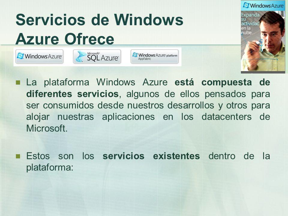 Windows Azure (Compute): es el servicio que nos da la posibilidad de ejecutar las aplicaciones y almacenar los datos de una forma abstracta y a nuestro antojo.