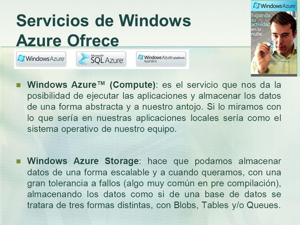 Windows Azure Platform Appfabric: nos va a proveer de conectividad segura entre las aplicaciones desplegadas en la nube y las cliente servidor.