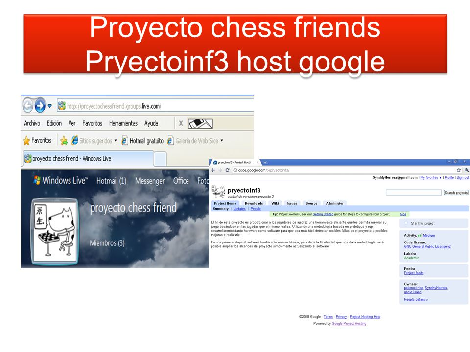 Proyecto chess friends Pryectoinf3 host google