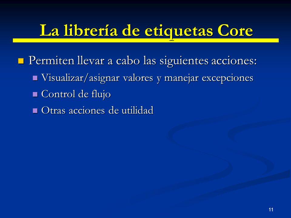 11 La librería de etiquetas Core Permiten llevar a cabo las siguientes acciones: Permiten llevar a cabo las siguientes acciones: Visualizar/asignar va
