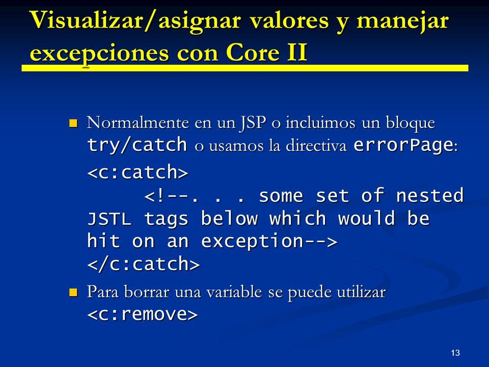 13 Visualizar/asignar valores y manejar excepciones con Core II Normalmente en un JSP o incluimos un bloque try/catch o usamos la directiva errorPage