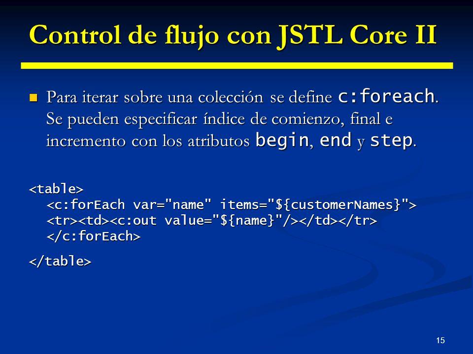 15 Control de flujo con JSTL Core II Para iterar sobre una colección se define c:foreach. Se pueden especificar índice de comienzo, final e incremento