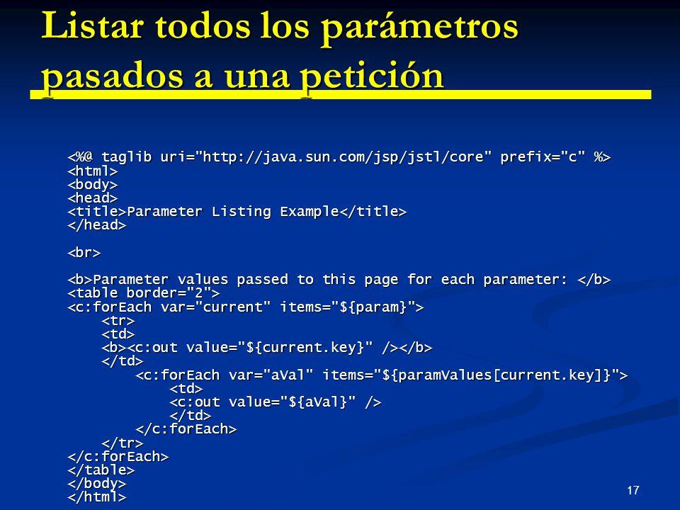 17 Listar todos los parámetros pasados a una petición Parameter Listing Example Parameter values passed to this page for each parameter: Parameter Lis