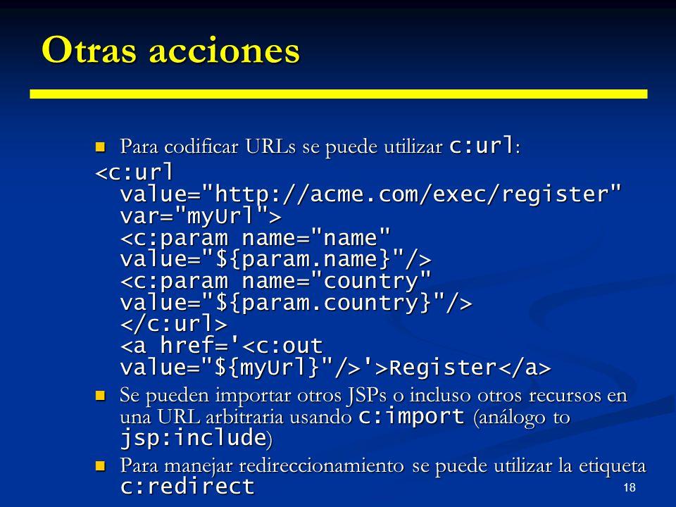 18 Otras acciones Para codificar URLs se puede utilizar c:url : Para codificar URLs se puede utilizar c:url : '>Register '>Register Se pueden importar