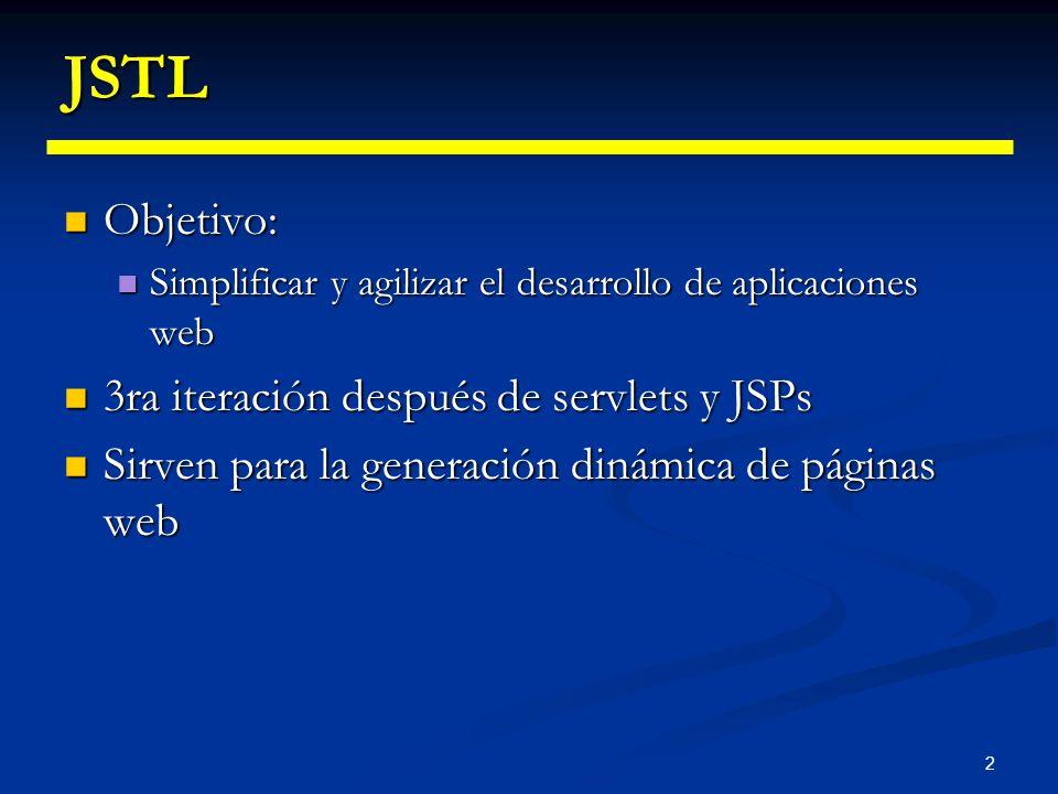 2 JSTL Objetivo: Objetivo: Simplificar y agilizar el desarrollo de aplicaciones web Simplificar y agilizar el desarrollo de aplicaciones web 3ra itera