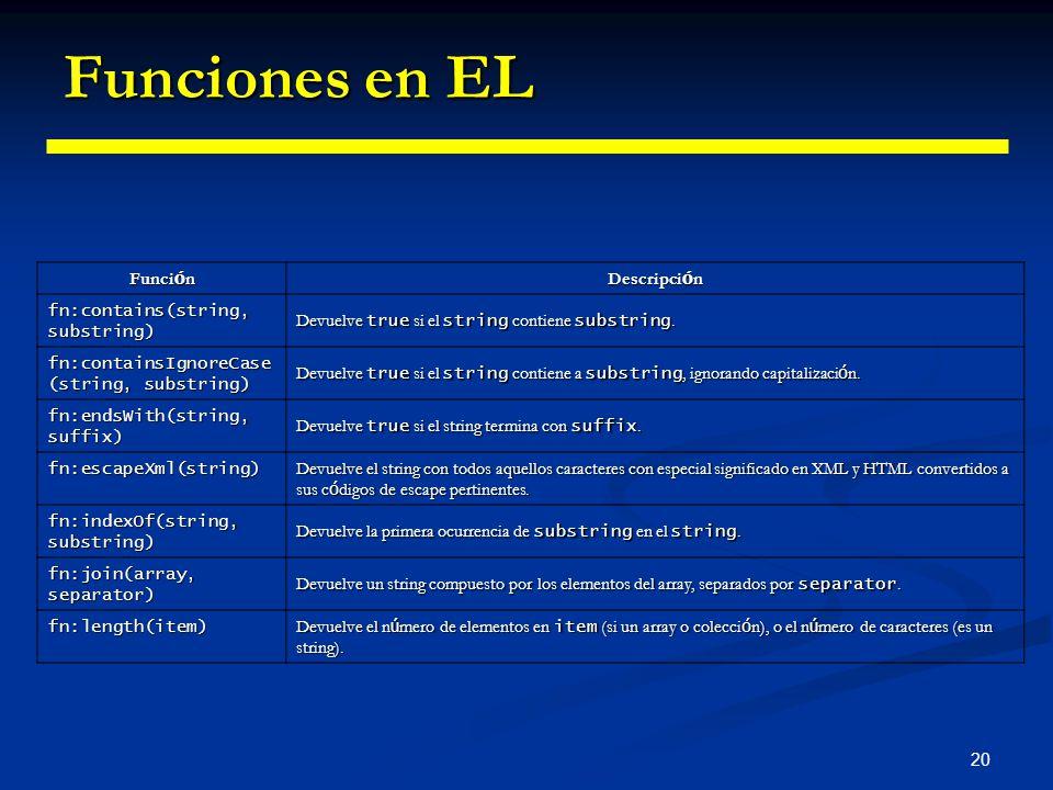 20 Funciones en EL Funci ó n Descripci ó n fn:contains(string, substring) Devuelve true si el string contiene substring. fn:containsIgnoreCase (string