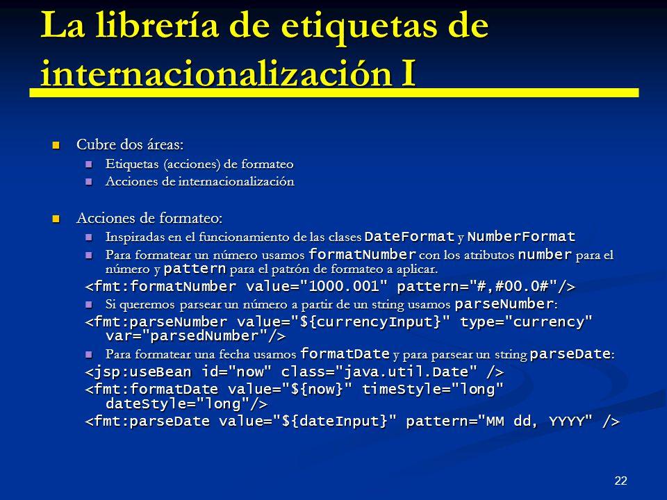 22 La librería de etiquetas de internacionalización I Cubre dos áreas: Cubre dos áreas: Etiquetas (acciones) de formateo Etiquetas (acciones) de forma