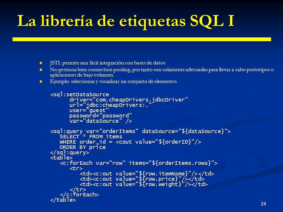 24 La librería de etiquetas SQL I JSTL permite una fácil integración con bases de datos JSTL permite una fácil integración con bases de datos No gesti