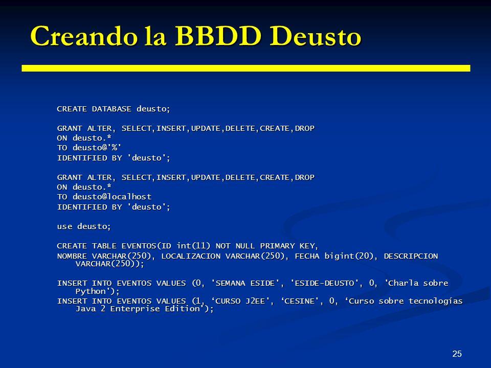 25 Creando la BBDD Deusto CREATE DATABASE deusto; GRANT ALTER, SELECT,INSERT,UPDATE,DELETE,CREATE,DROP ON deusto.* TO deusto@'%' IDENTIFIED BY 'deusto