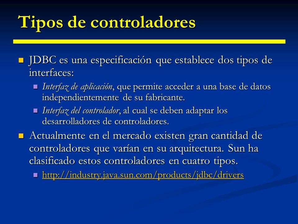 Fundamentos de los drivers JDBC Hay dos clases principales responsables del establecimiento de una conexión con B.B.D.D. Hay dos clases principales re