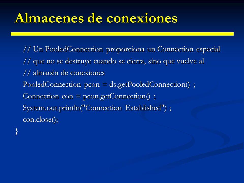 Almacenes de conexiones Uso de un almacén de conexiones: Uso de un almacén de conexiones: public UtilizeJNDI(){ Hashtable entorno = new Hashtable() ;