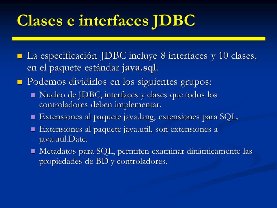 Controlador Tipo 4 Controlador Java puro y protocolo nativo Controlador Java puro y protocolo nativo Cliente Servidor Cliente BD Java JDBC Serv. nativ