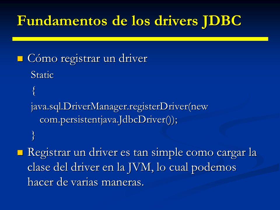 Fundamentos de los drivers JDBC Registrar un driver JDBC Registrar un driver JDBC Es el primer paso para crear una conexión Es el primer paso para cre