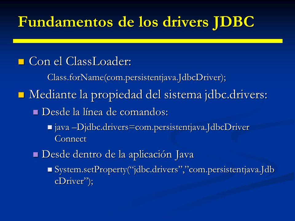 Fundamentos de los drivers JDBC Cómo registrar un driver Cómo registrar un driverStatic{ java.sql.DriverManager.registerDriver(new com.persistentjava.