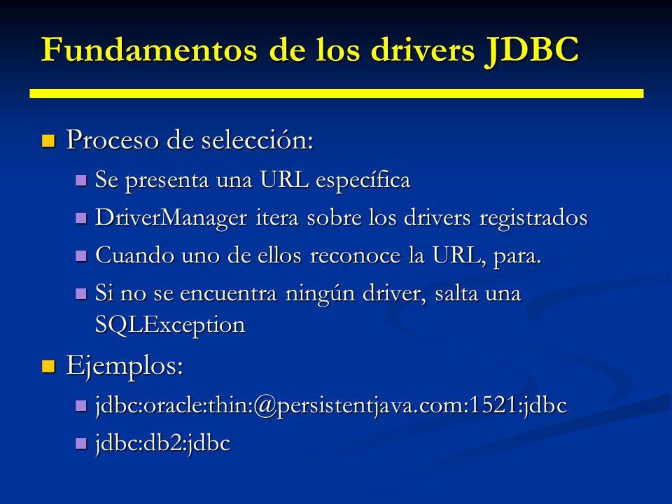 Fundamentos de los drivers JDBC Una vez registrado, ya podemos utilizar el driver Una vez registrado, ya podemos utilizar el driver ¿Cómo selecciona D
