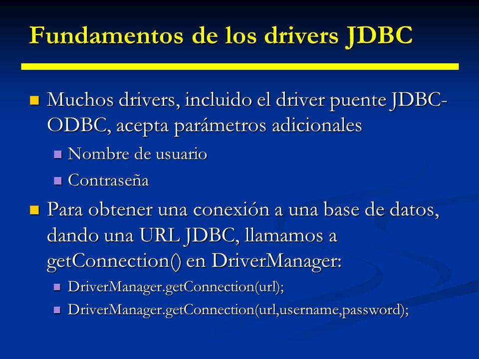 Fundamentos de los drivers JDBC Proceso de selección: Proceso de selección: Se presenta una URL específica Se presenta una URL específica DriverManage