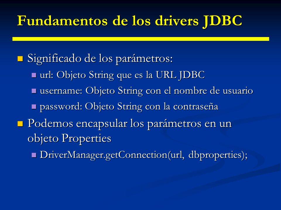 Fundamentos de los drivers JDBC Muchos drivers, incluido el driver puente JDBC- ODBC, acepta parámetros adicionales Muchos drivers, incluido el driver