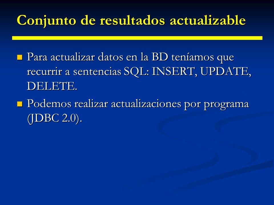 Métodos de desplazamiento del cursor Métodos Métodos Movimiento hacia atrás: afterLast(), previous(). Movimiento hacia atrás: afterLast(), previous().