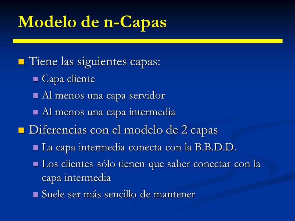 Modelo de dos capas Desventajas: Desventajas: Dificultad en el mantenimiento del sistema Dificultad en el mantenimiento del sistema Los cambios en el