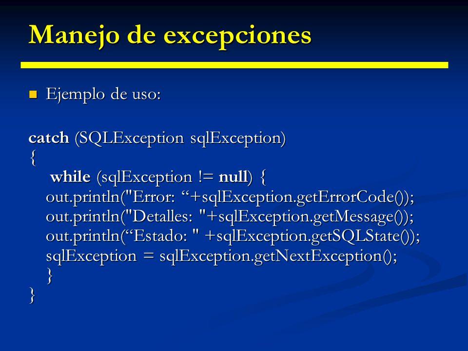 Extensiones JDBC al paquete java.lang Amplían envoltorio Number para permitir albergar grandes números. Amplían envoltorio Number para permitir alberg