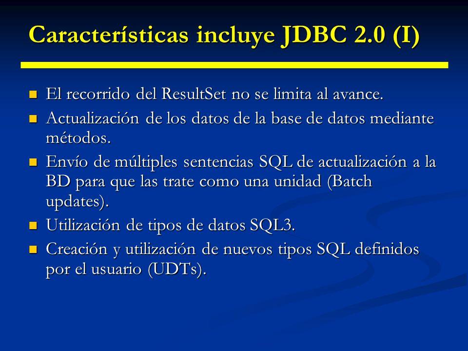 Ampliaciones al tratamiento básico de BD Versiones JDBC Versiones JDBC JDBC 1.0 JDBC 1.0 JDBC 2.0 JDBC 2.0 JDBC Optional Package (inicialmente se le l
