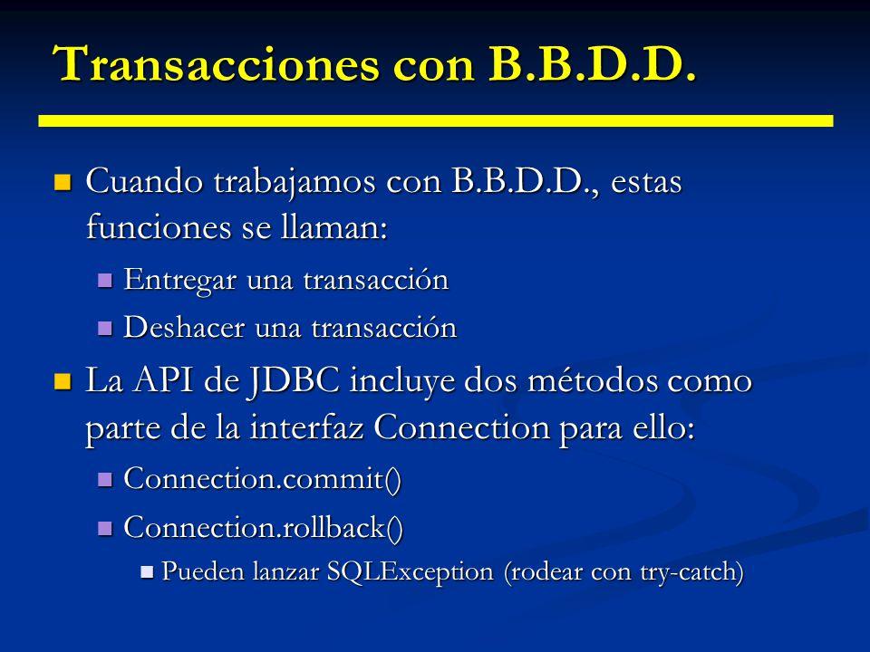 Transacciones con B.B.D.D. Una transacción representa una unidad de trabajo lógica Una transacción representa una unidad de trabajo lógica La principa