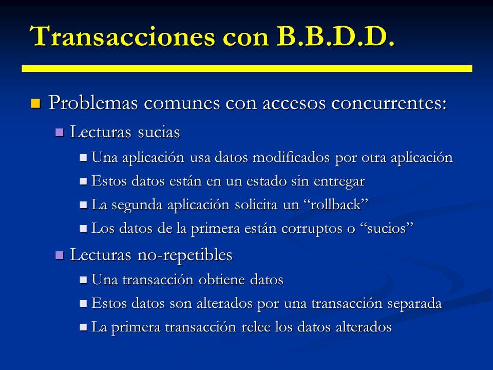 Transacciones con B.B.D.D. En un entorno monousuario, las transacciones son bastante sencillas En un entorno monousuario, las transacciones son bastan