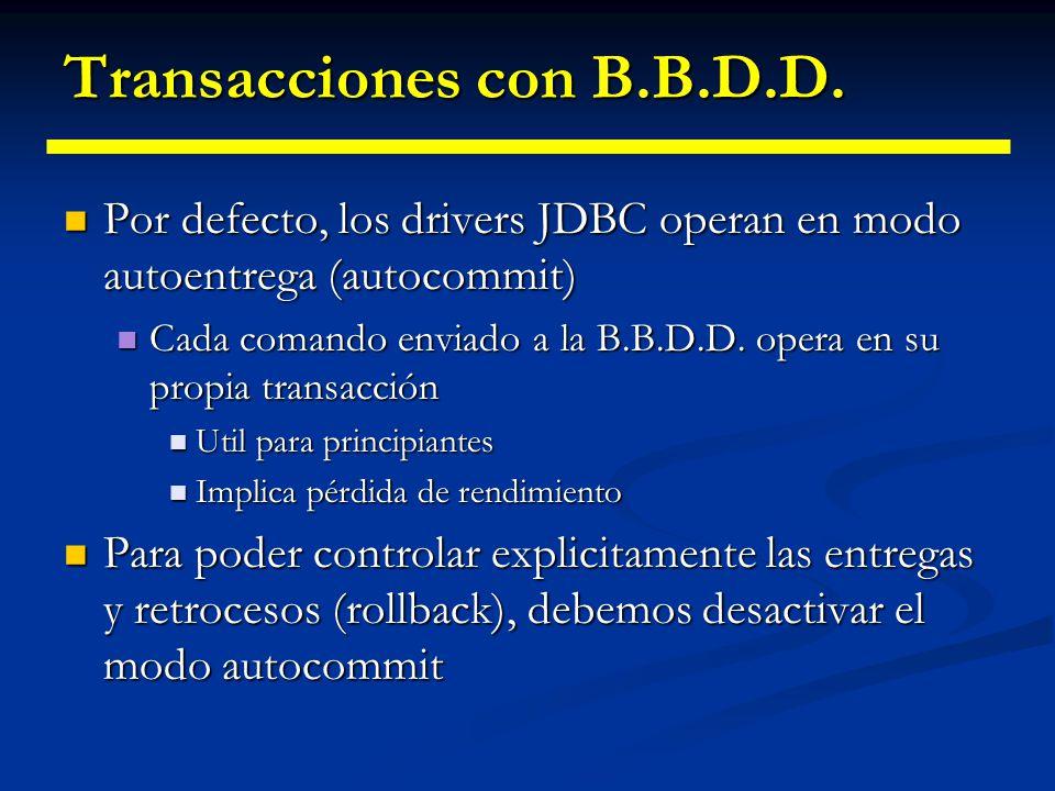 Transacciones con B.B.D.D. En un objeto Connection podemos seleccionar explicitamente el nivel de transacción En un objeto Connection podemos seleccio