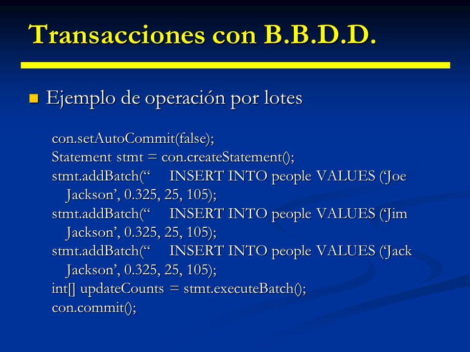 Transacciones con B.B.D.D. Desactivación del modo autocommit: Desactivación del modo autocommit: Connection.setAutoCommit(false) Connection.setAutoCom