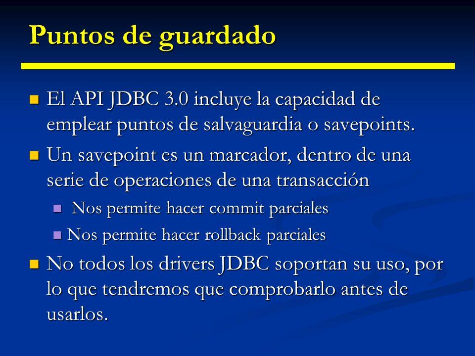 Transacciones con B.B.D.D. El método executeBatch() devuelve un array de cuentas actualizadas, una por operación del lote. El método executeBatch() de