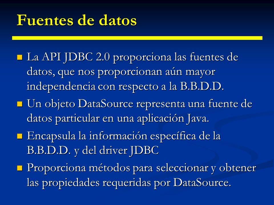 Fuentes de datos Usar la API JDBC nos facilita la programación independiente de la B.B.D.D. Usar la API JDBC nos facilita la programación independient