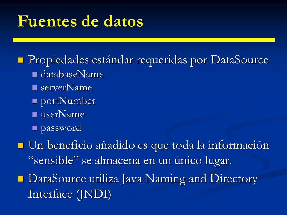 Fuentes de datos La API JDBC 2.0 proporciona las fuentes de datos, que nos proporcionan aún mayor independencia con respecto a la B.B.D.D. La API JDBC