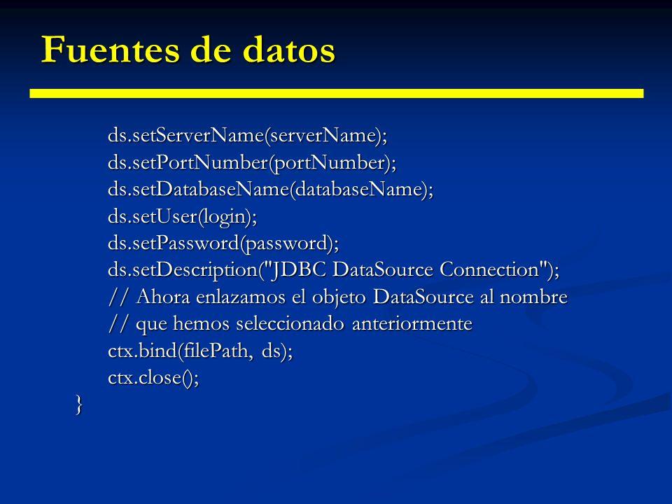 Fuentes de datos public InicializarJNDI() { // Para utilizar los parámetros, necesitamos crear y poblar // un Hashtable. Hashtable env = new Hashtable